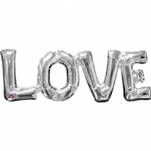 "Silver Phrase LOVE Mini-Foil Balloon (9"" Air) 